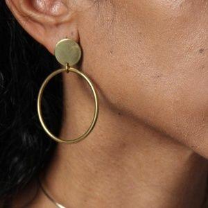 *MILA* Simple Circle Gold Pendant Fashion Earrings